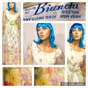 VTG. HOUSE OF BIANCHI MAXI FLORAL CHIFFON DRESS